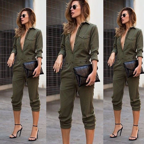 Women New Fashion Slim Bodycon Jumpsuit Long Sleeve Army Green Solid Casual Bodysuit Ladies Vintage Romper Long Jumpsuit