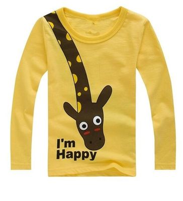 2016 New Fashion Long Sleeve Children Cotton Boys T-Shirts Cute Animal Kids Casual Boy Tees Spring Autumn Children Kids Clothes