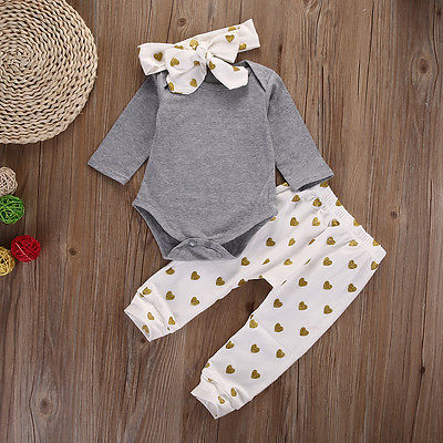 3PCS Newborn Baby Girls Clothes Sets Gray Long Sleeve Cotton Rompers Printed Heart Pants Headband Girls Clothing Set 0-18 Months