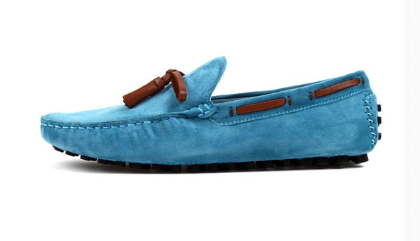 US 6-12 Sky Blue  Suede Leather Casual Slip On tassel Driving Loafer fashion mens boat shoes