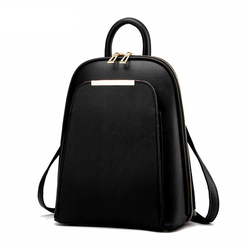 Solid High Quality PU Leather Backpack Women Designer School Bags For  Teenagers Girls Luxury Women Backpacks ... c1e1d14915