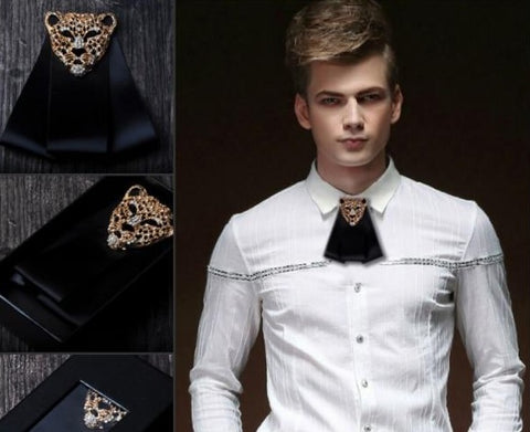 New Free Shipping male MEN'S groom groomsman tie diamond wedding tie leopard head tie bow handmade