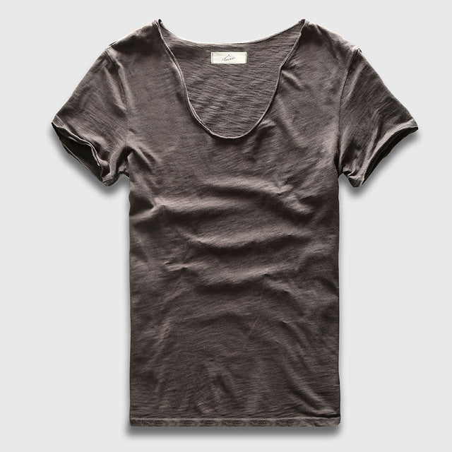 Men Basic T-Shirt Solid Cotton V Neck Slim Fit Male T Shirts Short Sleeve Top Tees