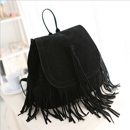Fashion Women Tassel Backpacks Girls Vintage Suede Shoulder School Bags Travel Backbags Mochilas Sac A Dos