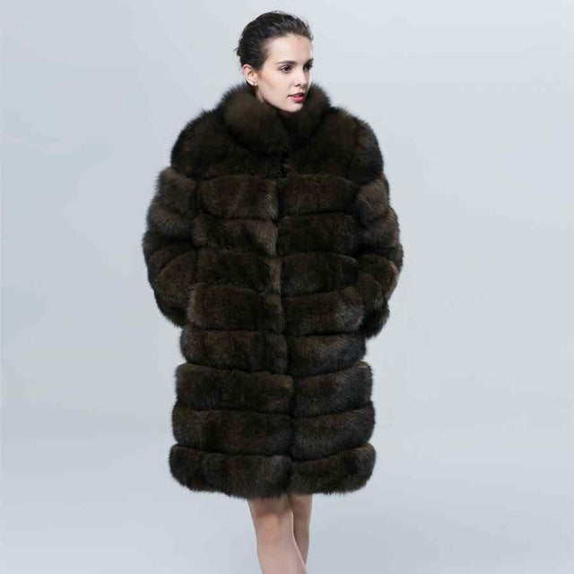 Winter Thick Warm Fur Coat Natural Blue Fox Fur Imitate Sable Color Stand Collar Fishion Luxury Women Clothing  ZC1602