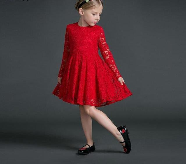 mother daughter dresses New Family Matching Outfits Long sleeves red Lace dress family matching clothes