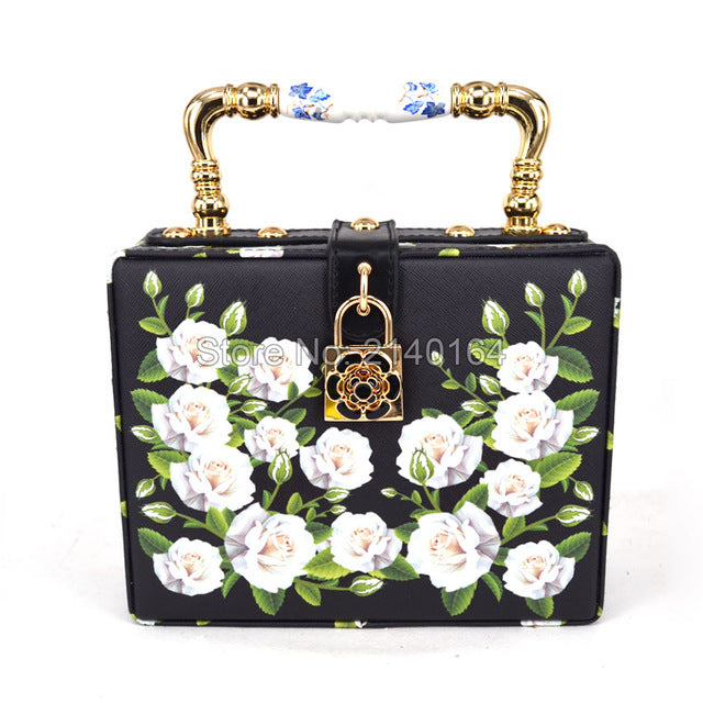 fashion design elegant white roses printing ceramic handle women's handbag shoulder bag mini women messenger bag totes purse