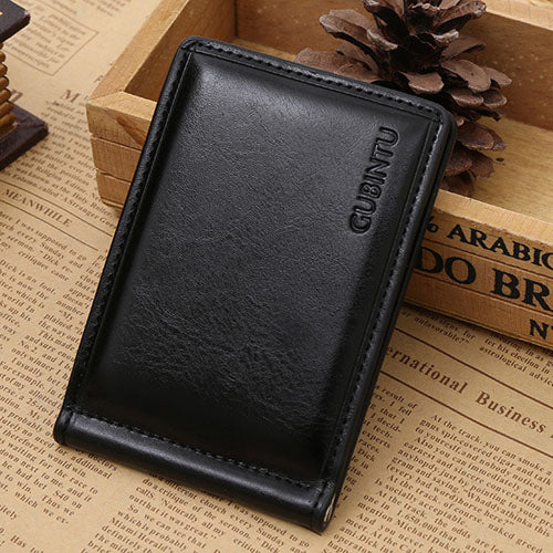 Men's leather money clip wallet with coin pocket magnet hasp portable man purse with card slot