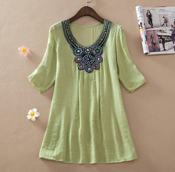 Summer New Women Floral Embroidery Plus Size XXXL Loose Blouse Shirts 7 Candy Colors Chiffon Casual Shirt Tops