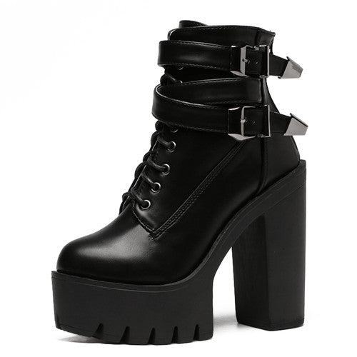Spring Fashion Women Boots High Heels Platform Buckle Lace Up Leather Short Booties Black Ladies Shoes Good Quality