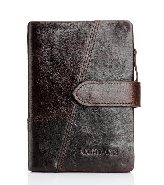 CONTACT'S Genuine Crazy Horse Cowhide Leather Men Wallets Fashion Purse With Card Holder Vintage Long Wallet Clutch Wrist Bag