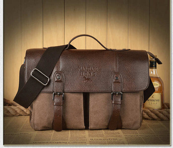 Retro Men Briefcase Business Shoulder Bag Canvas Messenger Bags Man Handbag Tote Bag Casual Travel Bag Sac Hommes