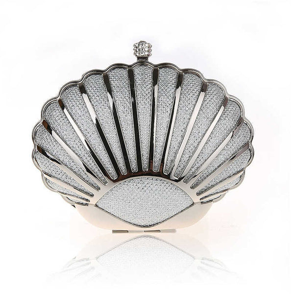 Women Shell Silver Evening Bags Mini Clutch Bag Fashion Party Purse Day Clutch Hard Alloy wallet Small Bags