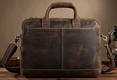 8ca42ca22005 Vintage Crazy Horse Leather Men Briefcases Business Bag tote Genuine  Leather 15.4