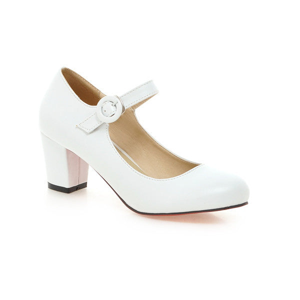 ... Women Shoes Mary Jane Ladies High Heels White Wedding Shoes Thick Heel  Pumps Lady Shoes Black ... 2038410370a9