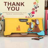 Cute Cartoon Fashion Cute Puppy Zipper Long Wallet Cartoon Dog 6 Colors PU Leather Women Wallets Ladies Clutch Card Holder