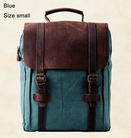 ... Vintage Fashion Backpack Leather military Canvas backpack Men backpack  women school backpack school bag bagpack rucksack ... 5ca8a4a0b16de