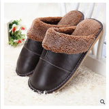 Genuine Leather Warm  Winter Home Slippers Non-Slip Thick Warm House Shoes Cotton Women Men Slippers 5 Colors