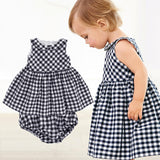 Baby clothes Fashion Blue baby suits Baby kerchief+ sleeveless dress+ gingham plaid pant New arrived  free shipping baby clothes