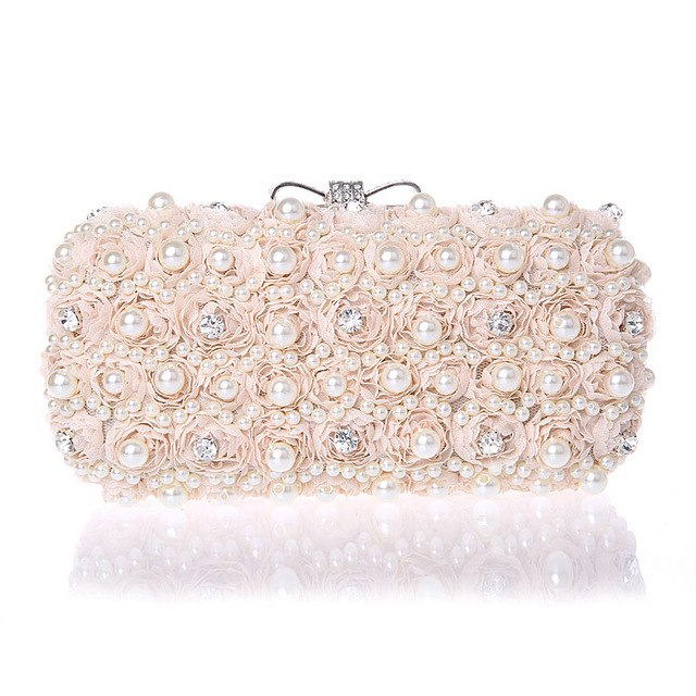JOHNKART.COM.  43.12 USD. White Flowers Evening Hand Bag Noble Ladies Pearl  Wedding Party Dressed Clutch BagsRhinestone Bow Mini Purse ... a46f3bc5a1ef