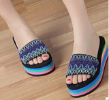new summer fashion rainbow leopard muffin sandals home shoes wedge heels beach sandals