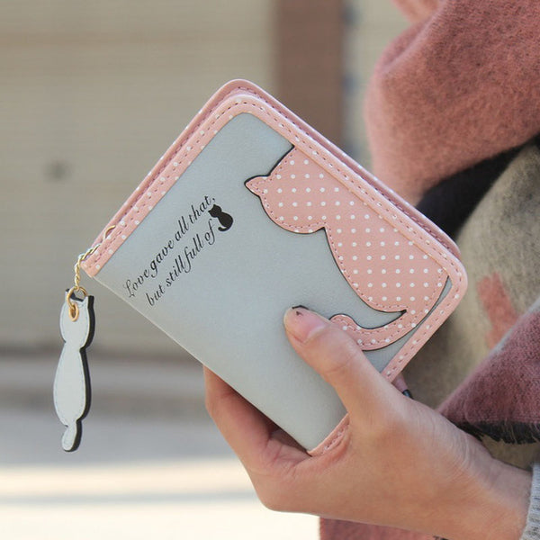 Fashion Small Wallet Women Short Luxury Brand Cute Female Purse PU Leather Cat Design Girls Lady Zipper Wallets Card Holder Bags