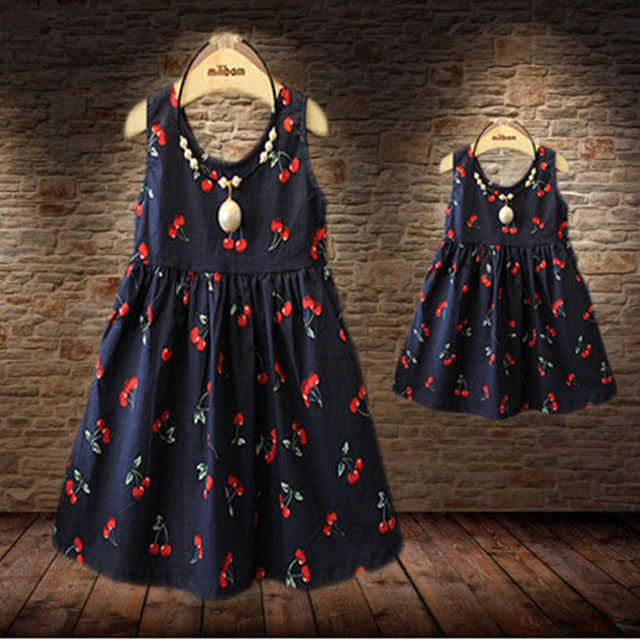 Sundresses mother daughter dresses mom and daughter dress matching mother daughter clothes girls cherry princess dress 2018 new