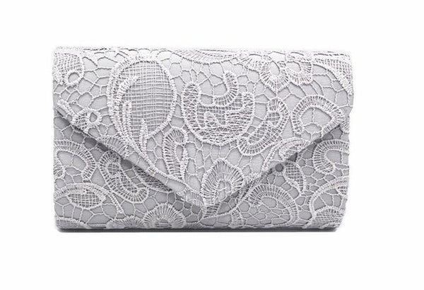 Hollow Lace Clutch Bag New Lace Satin Evening Bags High-grade Silk Party Bag Exquisite Day Clutches Crossbody Chain Gift