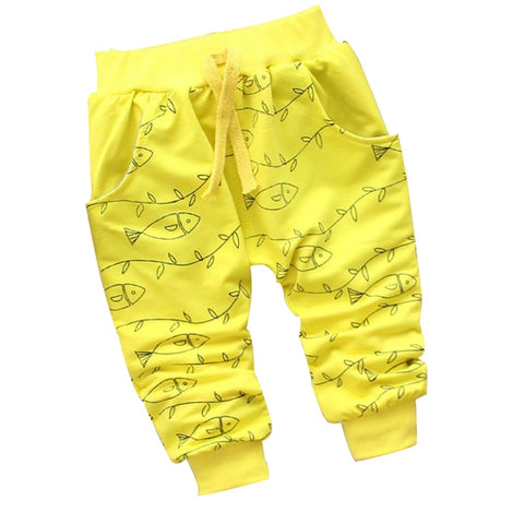 new spring happy children fish high-quality cartoon 100% cotton trousers 0-2 year fashion baby boy girls pants