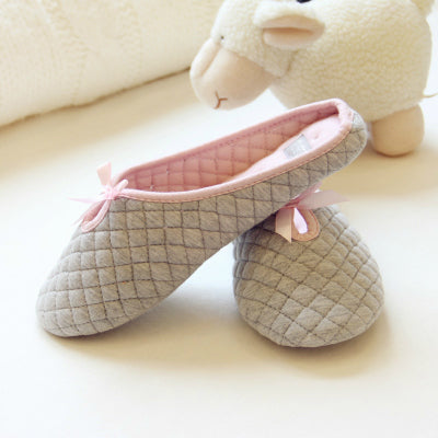 Lovely Bowtie Winter Women Home Slippers For Indoor Bedroom House Soft Bottom Cotton Warm Shoes Adult Guests Flats