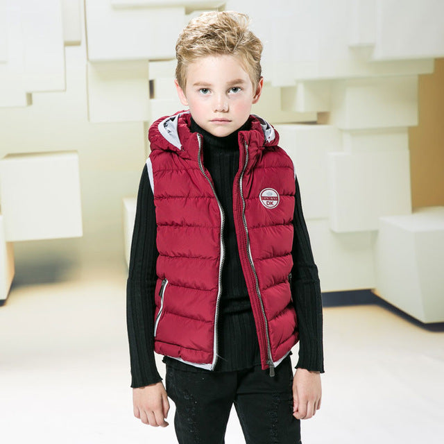 4-10 Years Child Vest Waistcoat Boys Solid Winter Vest Baby Sleeveless Jacket for Kid Hooded Vest Outwear Autumn Vest Coat