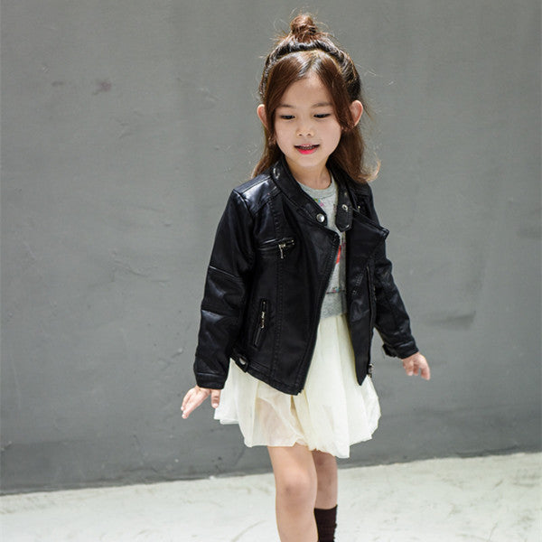 Fashion Spring Baby Girls&Boys Leather Jacket Korean Children Clothes Baby Black Zipper Cardigan Coat Kids Outwear