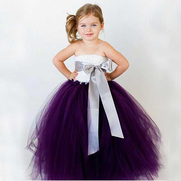 Latest Solid Color Flower Girls Tutu Dress Kids Tulle Dress for Birthday/Wedding/Party Children Girl Ball Gown Tutus