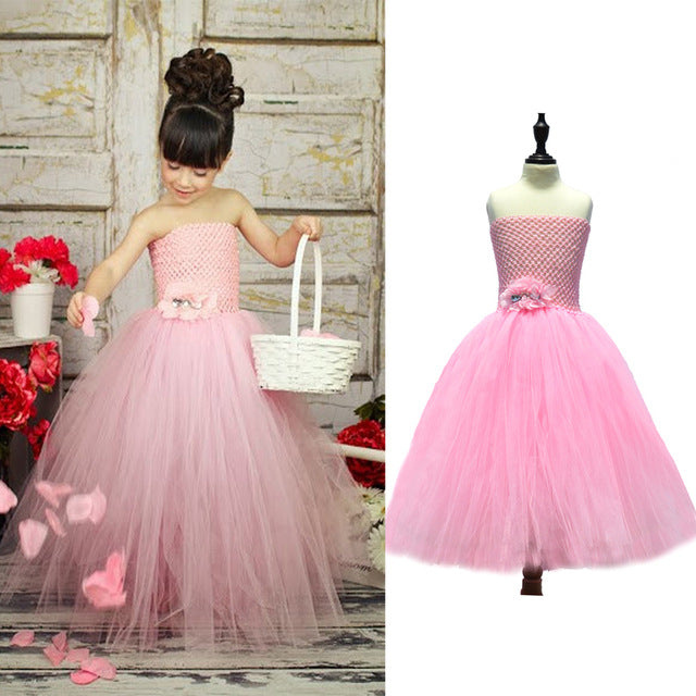 66ab28d9d3 Latest Solid Color Flower Girls Tutu Dress Kids Tulle Dress for  Birthday/Wedding/Party Children Girl Ball Gown Tutus