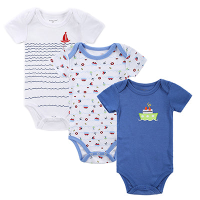 Newly 3 Pcs/lot Baby Bodysuit Girls and Boys Summer Baby Girls Clothing Short Sleeves Sleepwear Newborn Unisex Baby Clothes