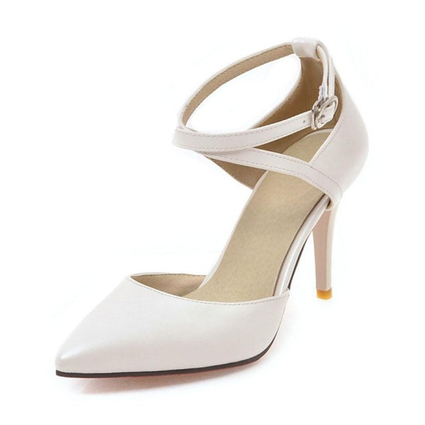 High Heels Shoes Women Pumps Buckle Strap Sexy Thin High Heels Two Piece Heels Pointed Toe Fashion Ladies Shoes 34-43