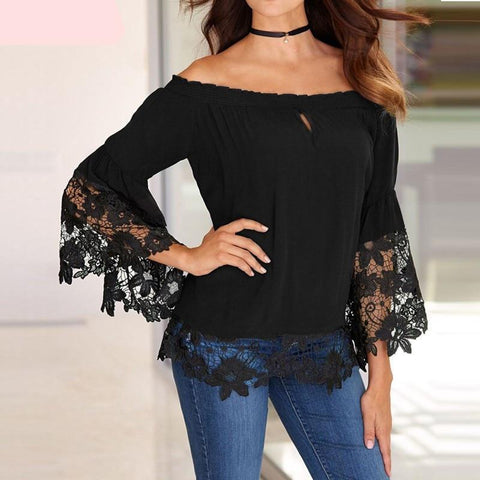 Women Blouses Off Shoulder Shirts Sexy Slash Neck Flare Sleeve Patchwork Lace Crochet Blusas Casual Tops Plus Size