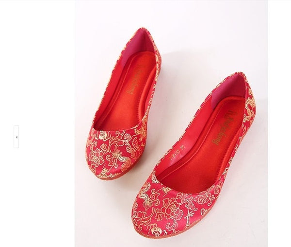 "Lady's soft Chinese character embroidered flattie ""dragon and phoenix single shoes Wedding shoes summer spring autumn Red 4-13"