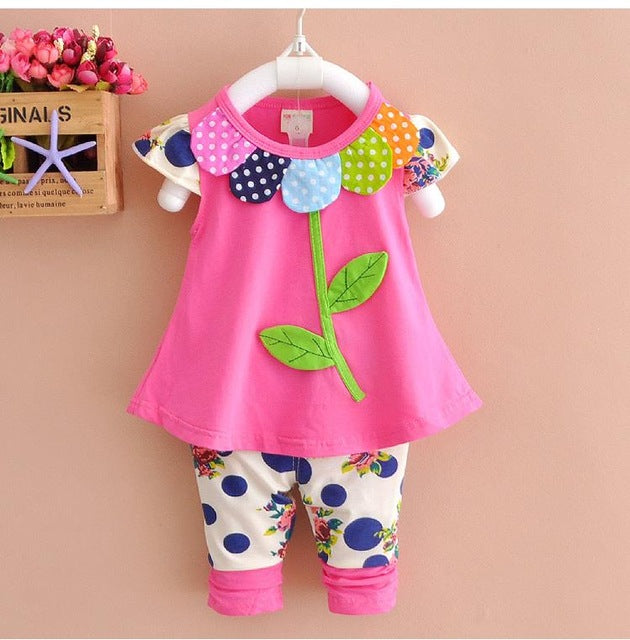 Kids Baby Girl Clothing Set Bowknot Summer Floral T-shirts Tops and Pants Leggings 2pcs Cute Children Outfits Girls Set
