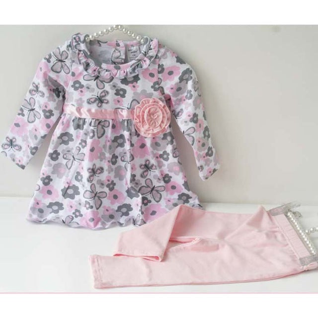 Baby Girl Floral Clothes Set Newborn Toddler Cotton Suit Kids Girl Outfits Spring Tracksuit Infant Clothing Set