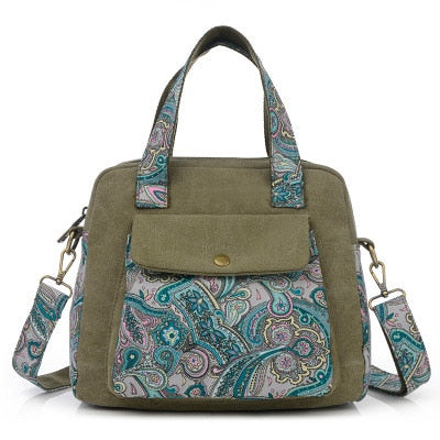 New Top Quality Vintage Women Handbag Ethnic Style Print Flower Canvas Large Tote Fashion Shoulder bag Women Messenger Bag
