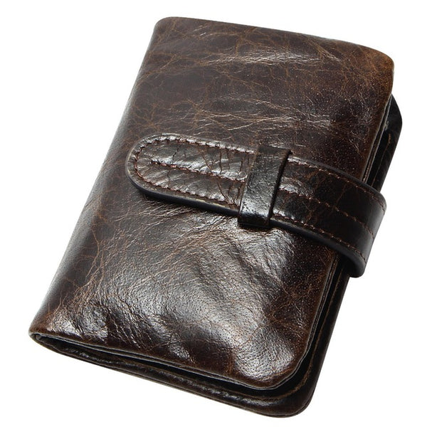 Luxury Vintage Casual 100% Real Genuine Cowhide Oil Wax Leather Men Short Bifold Wallet Wallets Purse Coin Pocket Male Zipper