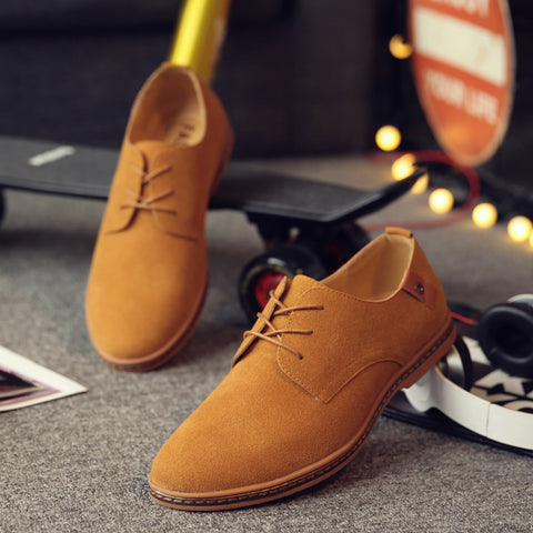 fashion Men Suede Leather Casual Shoes men spring autumn tide brand Designer Casual Men Shoes Lace Up Shoes Men