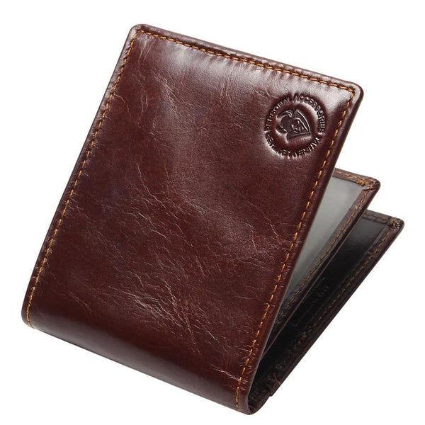 New RFID BLOCKING Genuine Leather Men's Wallets Male Bifold Purse Small Dollar Wallet Cowhide Bifold Purse Card Holders