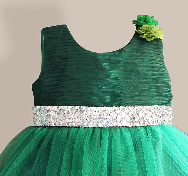 new arrival girl party dress with silver sequined belt princess kids dresses girl dress roupas infantis menina for 3-8Y