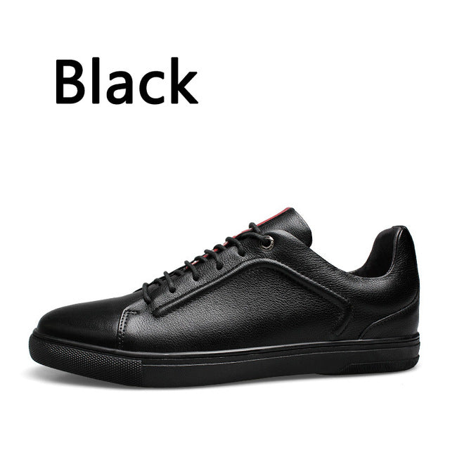 New Four Seasons Men's Lace-up Casual Shoes High-quality Genuine leather Shoes Fashion Breathable Flat Shoes Sneakers
