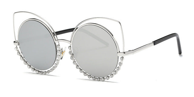 Diamond Luxury Cat Eye Sunglasses Women Newest Fashion Designer Coating Mirrors Metal Sun Glasses Feminino UV400 354R