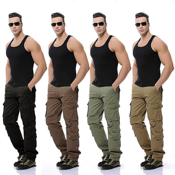 New Mens Cargo Pants army green black big pockets decoration Casual easy wash trousers male spring &autumn pants size 28-46