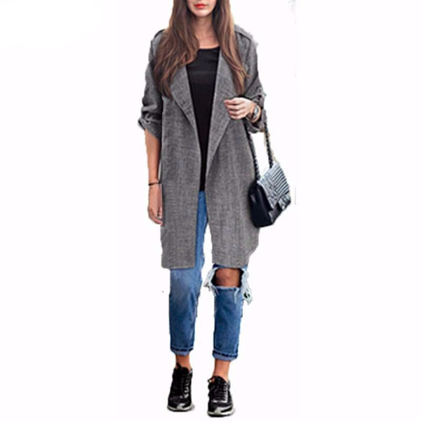 Spring Autumn  Women Slim Fashion Casual Lapel Windbreaker Cape Coat European Linen Cardigan Jacket Plus Size