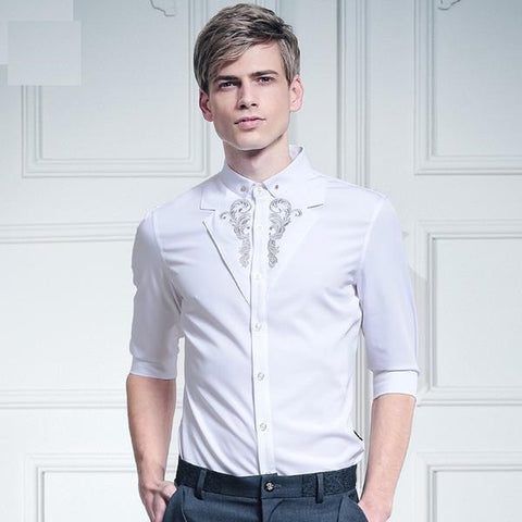 Free shipping New male casual fashion Men's Double white collar stitching embroidery color shirt Silver Palace 612039 FanZhuan